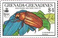 Rutelinae - Anomala sp. - timbre stamp sello estampilla - Grenadines